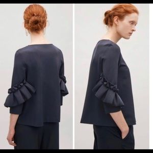 COS Black Frill Detailed Sleeves Blouse